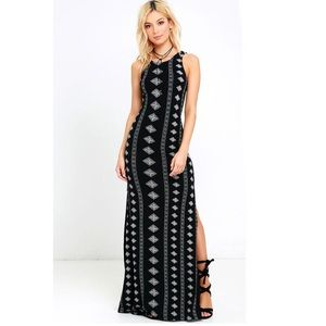 AMUSE SOCIETY BLACK PRINT MAXI DRESS